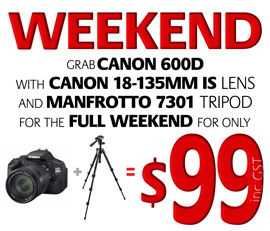 Canon 600D weekend hire special - $99 weekend at RENTaCAM Sydney