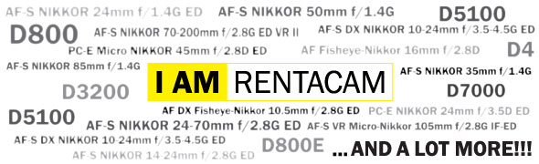 Nikon camera lens hire in Sydney - CLICK FOR MORE INFO - RENTaCAM Sydney