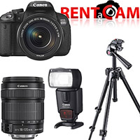 Hire Canon 650D kit (with 2 batteries, charger and 16GB SanDisk card!) with Canon EF-S 18-135mm f3.5-5.6 IS STM lens, Canon Speedlite 430EX II flash and Manfrotto 7301YB tripod from RENTaCAM