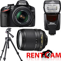 Hire Nikon D3200 kit (with 2 batteries, charger and 16GB SanDisk card!) with Nikon AF-S DX NIKKOR 18-105mm f/3.5-5.6G ED VR lens, Nikon Speedlight SB-700 and Manfrotto 7301YB tripod from RENTaCAM